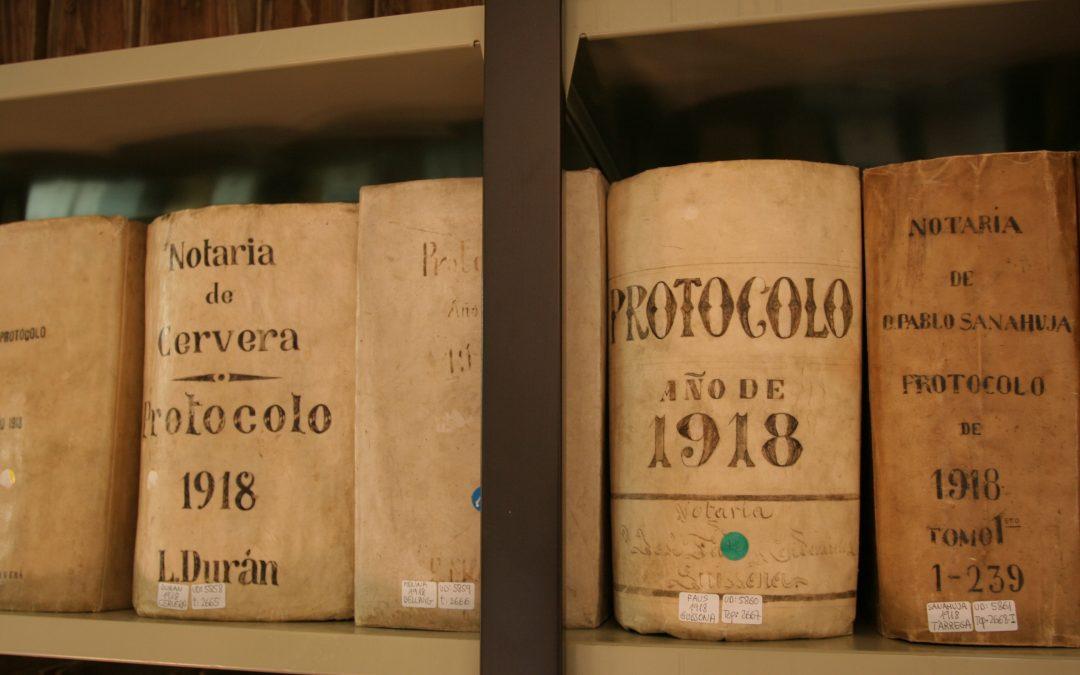 Ingrés dels protocols notarials de 1918 a l'ACSG