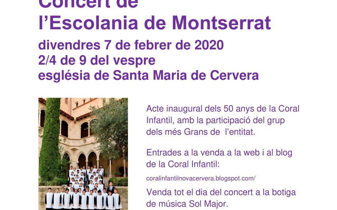 L'Escolania de Montserrat actuarà a Cervera el 7 de febrer