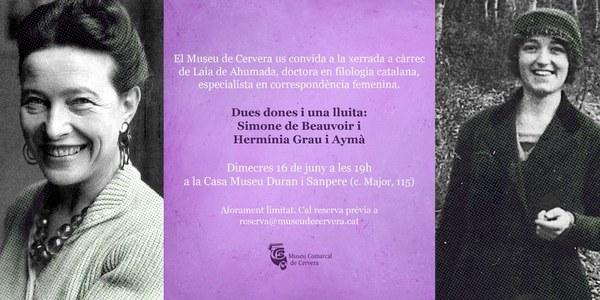 """Conferència """"Dues dones i una lluita: Simone de Beauvoir i Hermínia Grau i Aymà"""""""